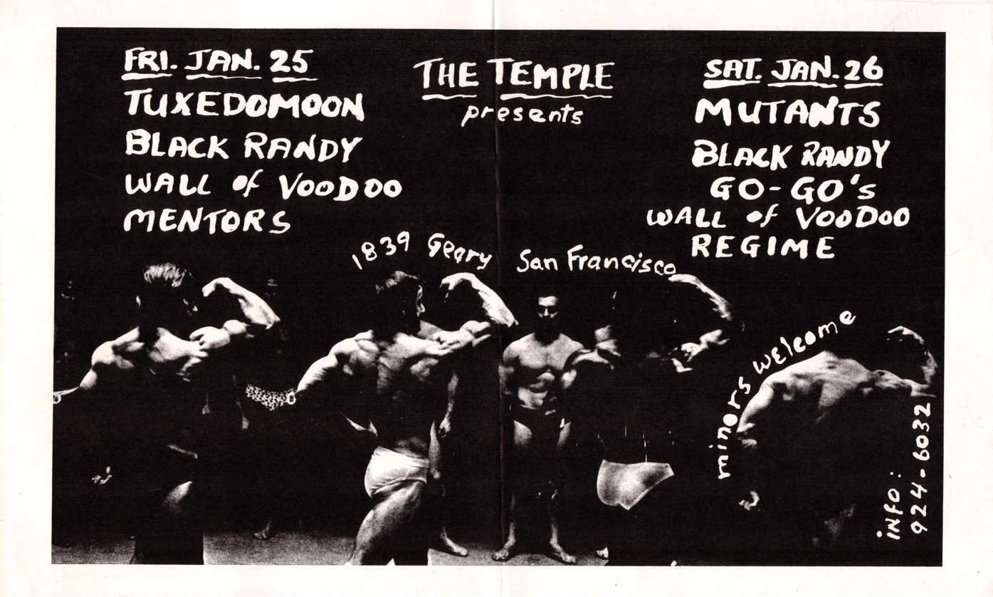tuxedomoon black randy wall of voodoo mentors mutants go-go's regime 1839 geary the temple