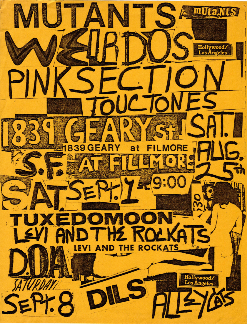 mutants weirdos pink section touchtones tuxedomoon dilsD.O.A. alleycats 1839 geary